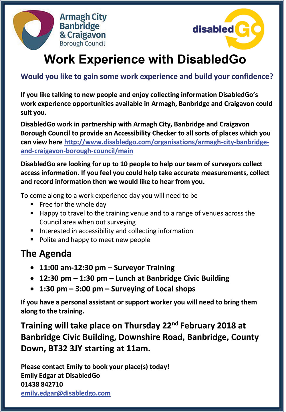 Work Experience Invitation 2018