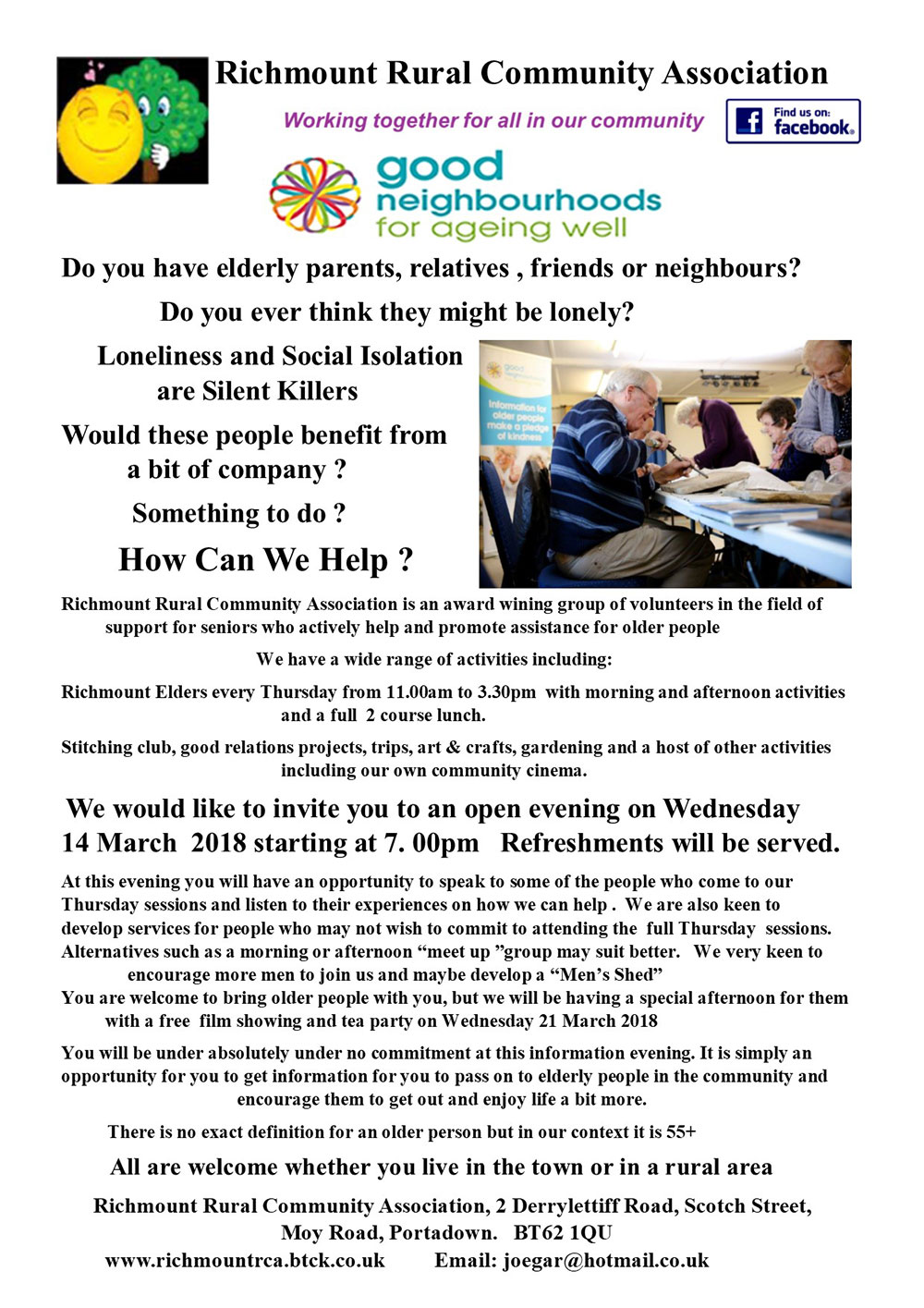 Older People Open Evening 14 Mar 18