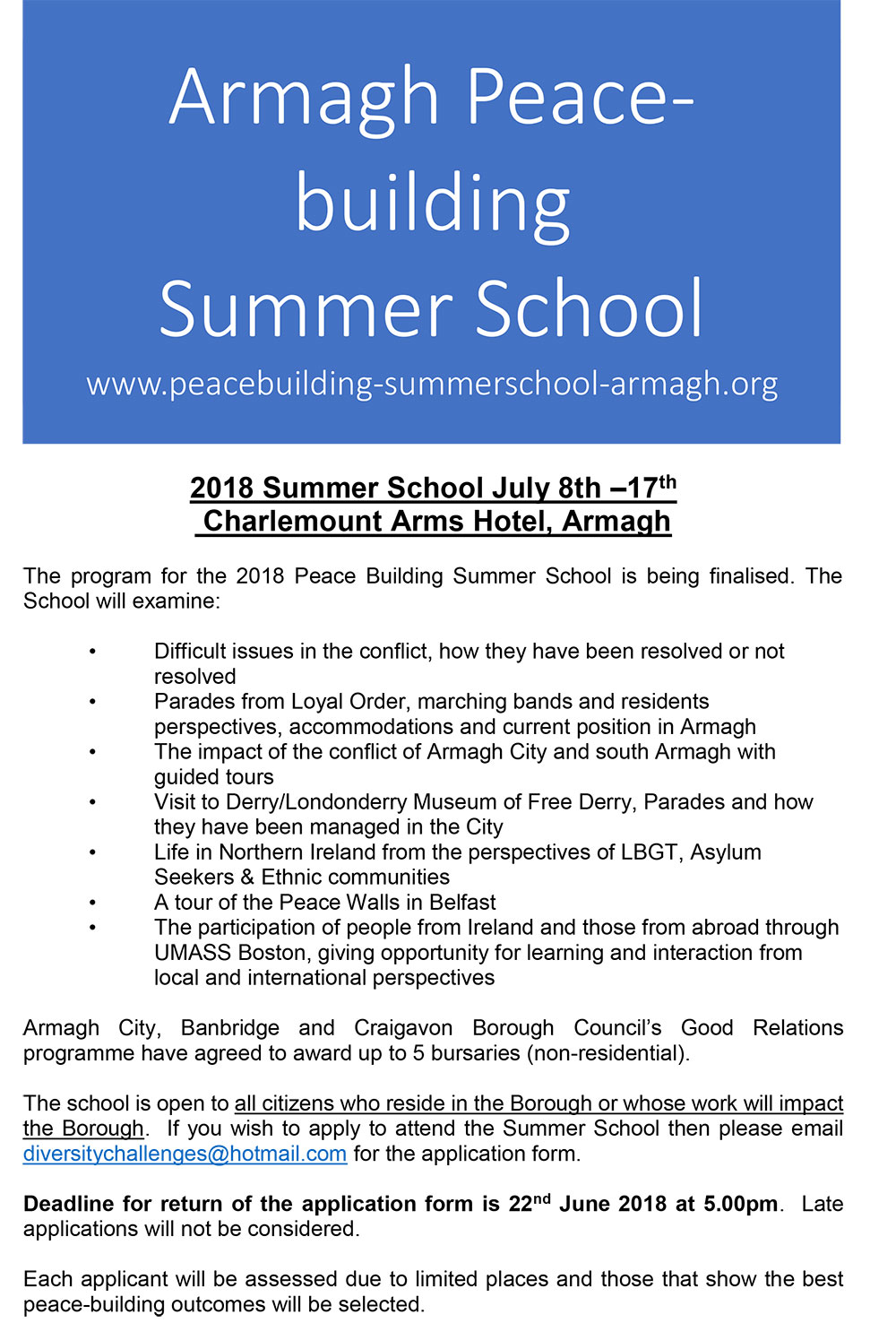 Flyer for Armagh Summer School 2018