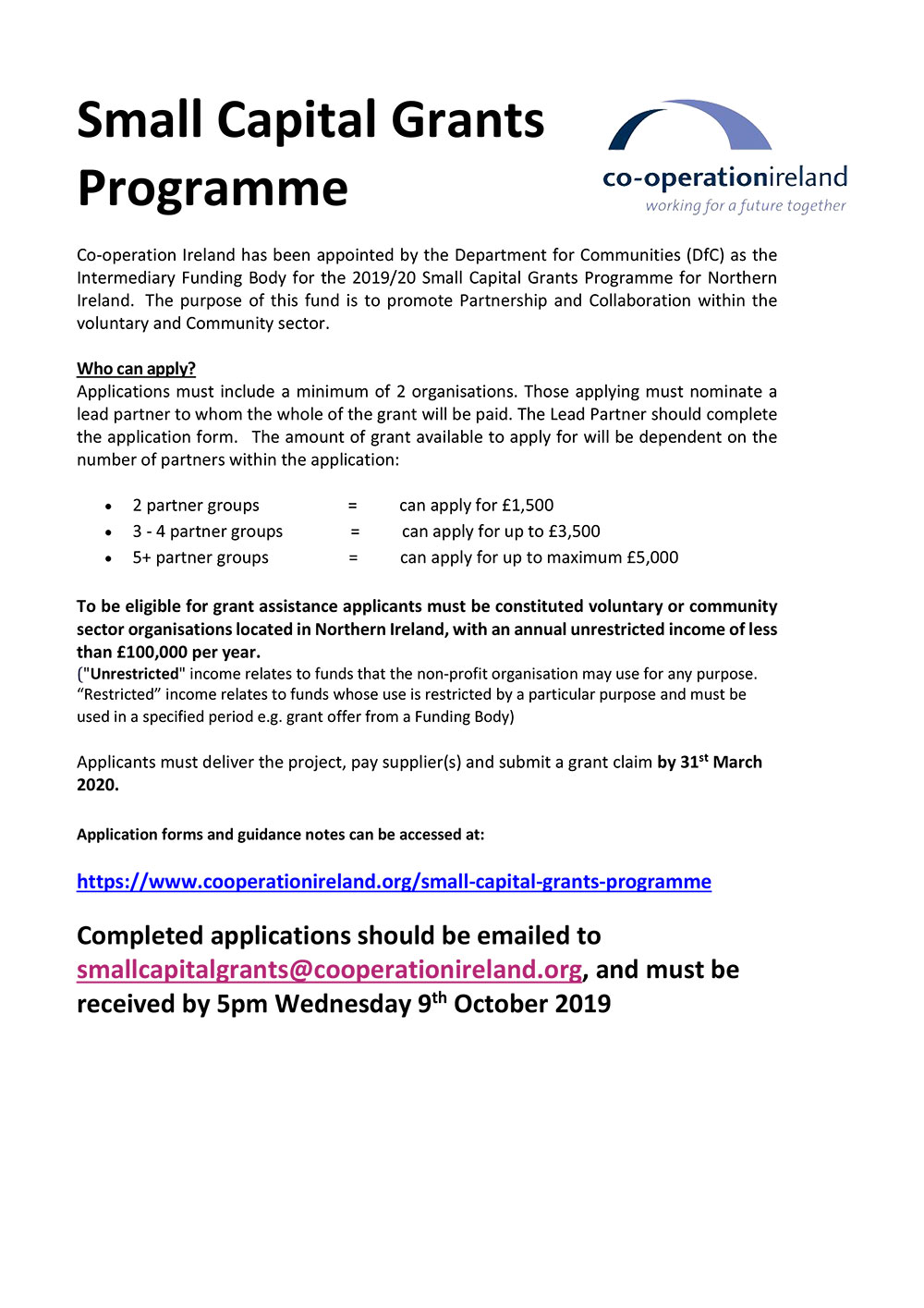 Small Capital Grants Programme