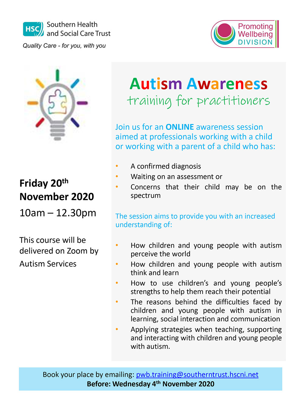 Autism Awareness flyer Nov 2020