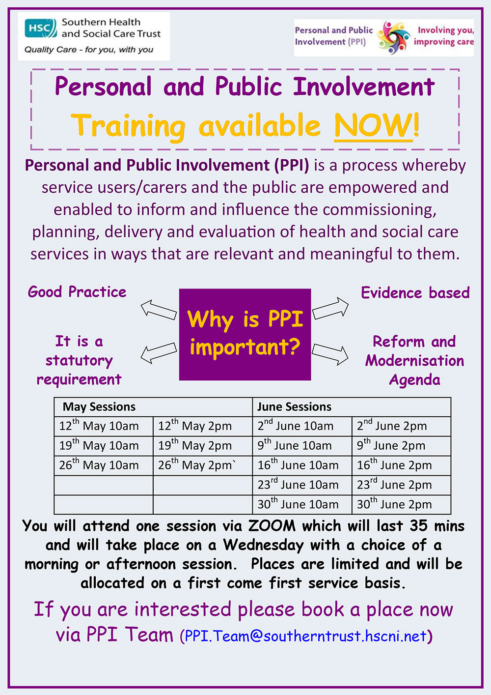 Poster for PPI Training Schedule